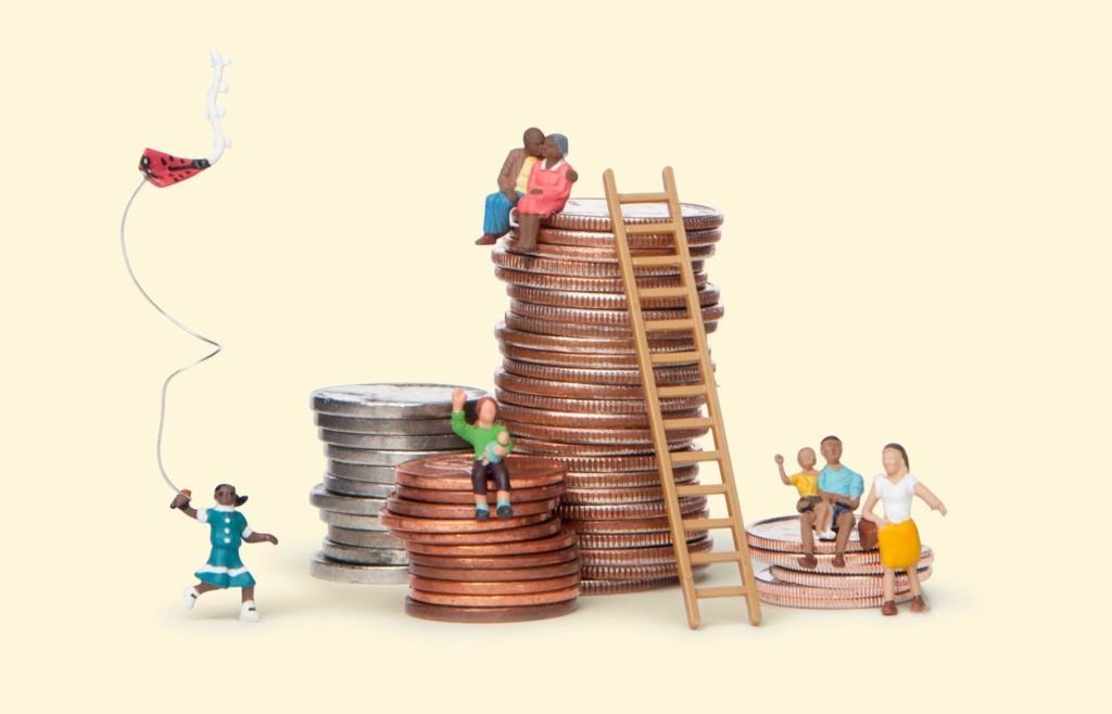 An illustration of clay figures sitting on top of piles of coins