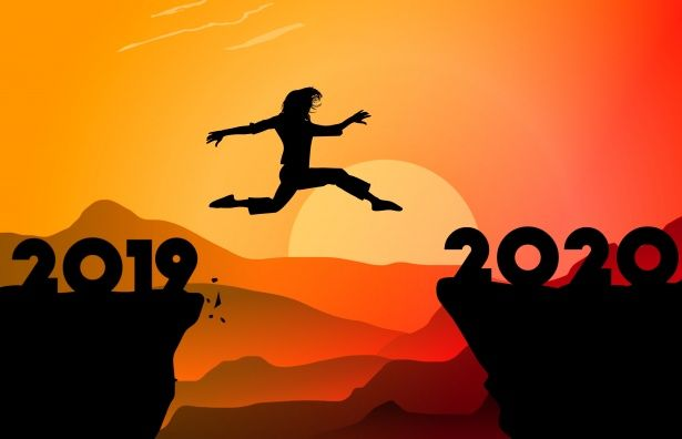 An illustration of a woman jumping from the year 2019 to 2020
