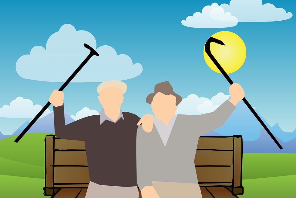 An illustration of two elderly people sitting on a park bench