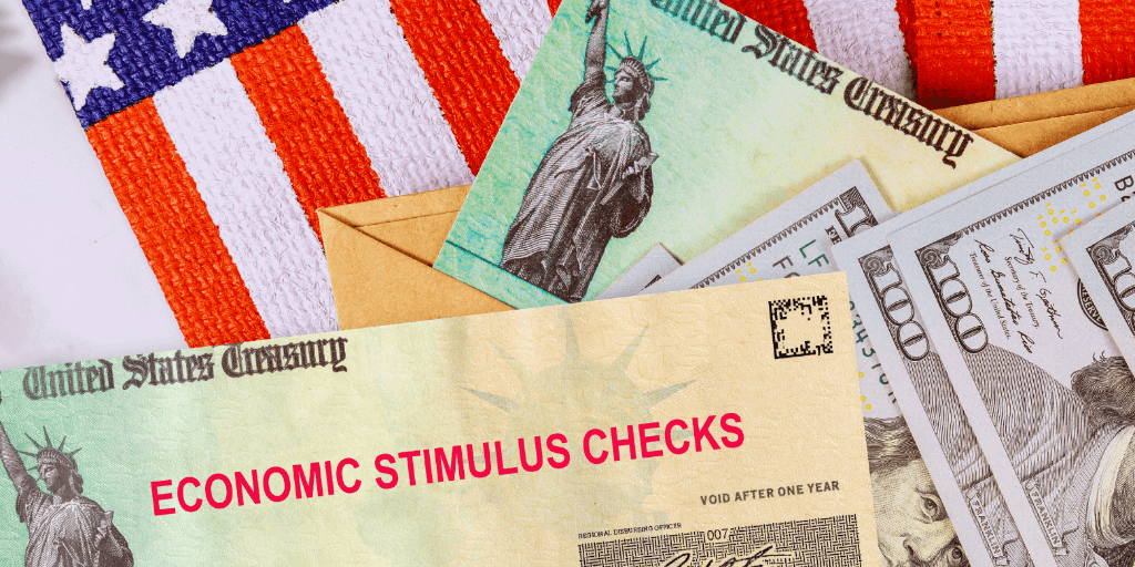 American flag, 100 dollar bills, and economic stimulus checks.