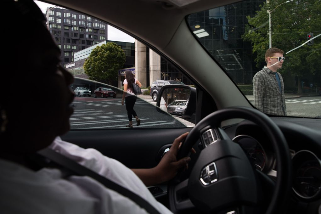 LaToya Washington often makes a drive across the city, from the shelter in South Lake Union to her mother's home in Skyway and back again. Photographed on Aug. 29, 2019. (Photo by Matt M. McKnight/Crosscut)