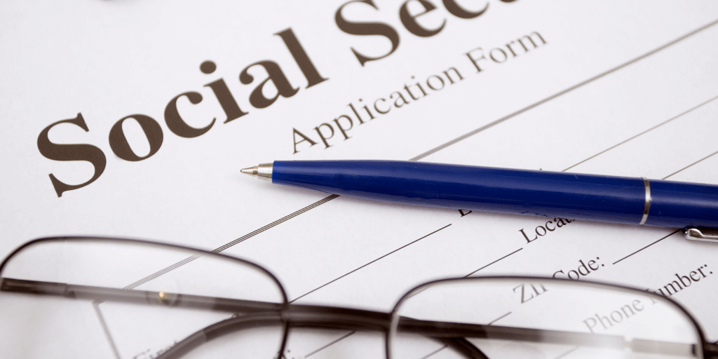 Social Security application and glasses.