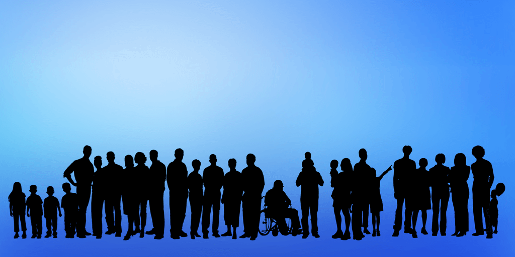 graphic of people with disabilities standing in a line next to each other.